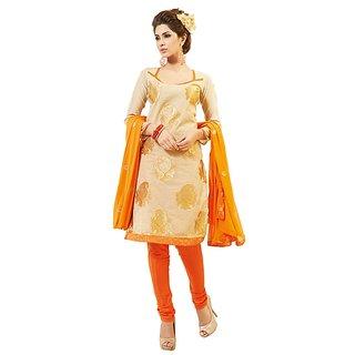 Fabdeal Floral Print Cream Chanderi Dressmaterial