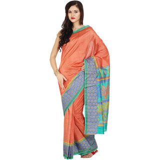 Aryahi Orange Silk Self Design Saree With Blouse