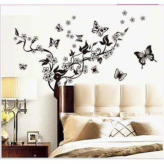 Decor Kafe Butterfly with Floral Wall Sticker  49x27(INCH)