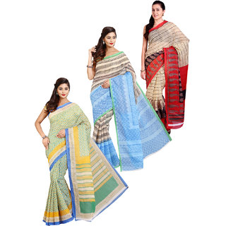 Aryahi Multicolor Poly Cotton Printed Saree With Blouse (Pack of 3)