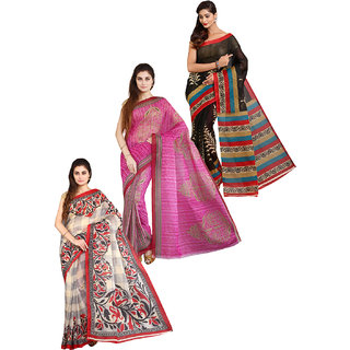 Aryahi Multicolor Poly Cotton Printed Saree With Blouse (Combo of 3)