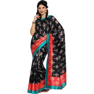 Satrang Black Art Silk Printed Saree With Blouse