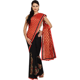 Parchayee Black Georgette Plain Saree With Blouse