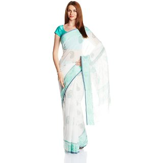 Satrang Light Green Cotton Solid Saree With Blouse