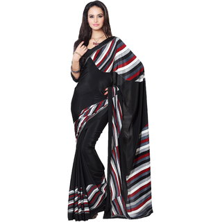 Parchayee Black Crepe Printed Saree With Blouse