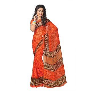Parchayee Orange Georgette Printed Saree With Blouse