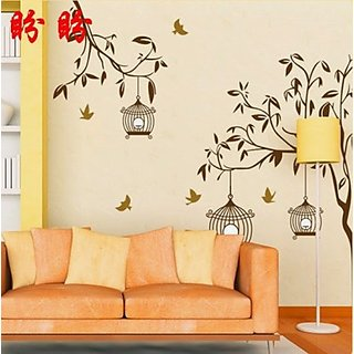 Decor Kafe Tree Cages Wall Sticker  56x27(INCH)