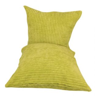 Just Linen Pair of Striped Green Fleece Cushion Covers