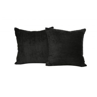 Just Linen Pair of Striped Black Fleece Cushion Covers