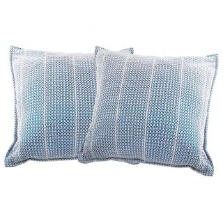 Just Linen 150 TC White Cotton Pair of Net Cushion Covers With Blue Backing