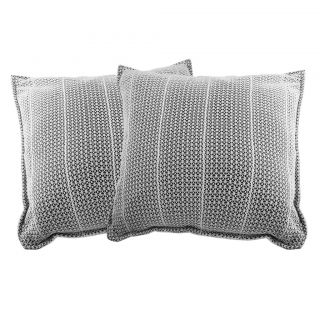 Just Linen 150 TC White Cotton Pair of Net Cushion Covers With Navy Backing