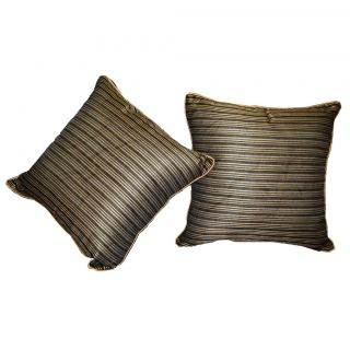 Just Linen 150 TC Pair of Golden Stripe Polyester Dupion Cushion Covers
