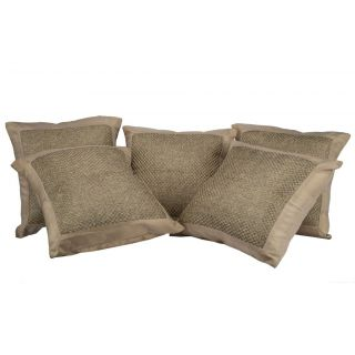 Just Linen Set of 5 Matty Checks Khaki Cushion Covers With Border