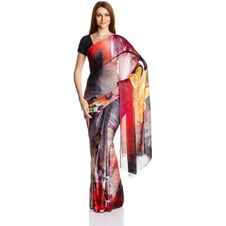 Parchayee Multicolor Chiffon Self Design Saree With Blouse