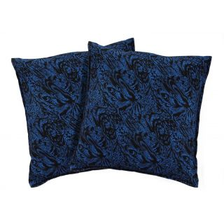 Just Linen Pair of Polyester Printed Blue Regular Size Cushion Covers