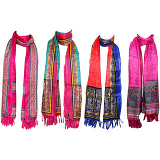 IndiWeaves Women's BhagalPuri Silk Dupata Combo 4(Pack of 4 Different Design Dupatta)