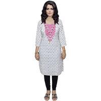 Indistar Women's Pure Cotton White And Black Printed Kurti