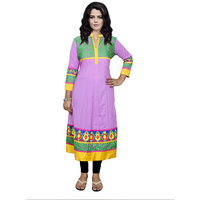 Indistar Women's Pure Cotton Green And Pink Printed Kurti