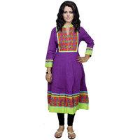 Indistar Women's Pure Cotton Purple Printed Kurti