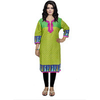 Indistar Women's Pure Cotton Green And Blue Embroidered Kurti