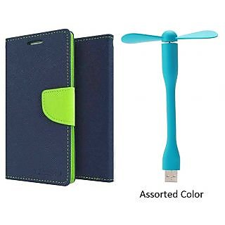 XPERIA M2 WALLET FLIP CASE COVER(BLUE) With USB FAN
