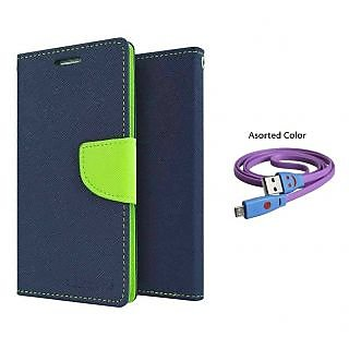 SAMSUNG NOTE 3 NEO N7505 WALLET FLIP CASE COVER(BLUE) With USB SMILEY CABLE