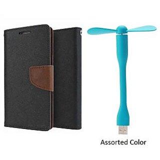 HTC 526 WALLET FLIP CASE COVER(BROWN) With USB FAN