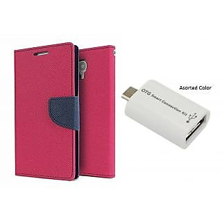 XPERIA M2 WALLET FLIP CASE COVER(PINK) With OTG SMART