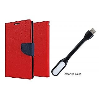 LENOVO P1 WALLET FLIP CASE COVER(RED) With USB LIGHT