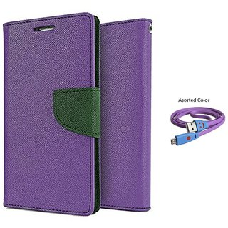 MICROMAX A114 WALLET FLIP CASE COVER(PURPLE) With USB SMILEY CABLE