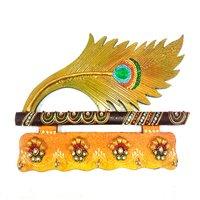 Wooden And Paper Mache Morepankhi Shape Key Holder With Kundan Work