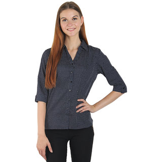 Smart and Glam Shirt for Women 3/4 Sleevs Dark Blue with small white Polka Dot XS