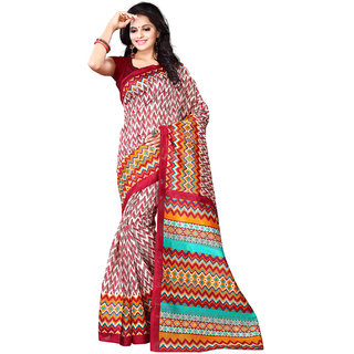 SuratTex Multicolor Cotton Printed Saree With Blouse