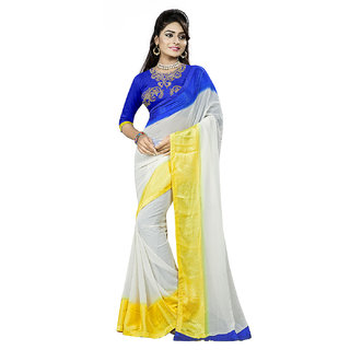 SuratTex White Jacquard Printed Saree With Blouse