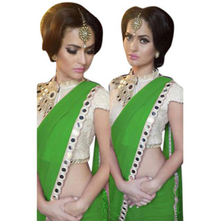 SuratTex Green Georgette Lace Saree With Blouse