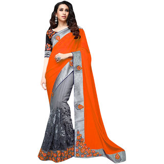 SuratTex Orange Georgette Embroidered Saree With Blouse