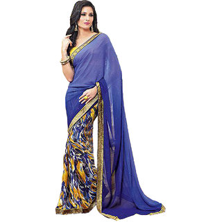 SuratTex Blue Georgette Printed Saree With Blouse
