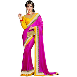 SuratTex Pink Chiffon Embroidered Saree With Blouse