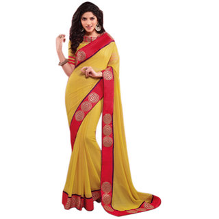SuratTex Yellow Dupion Silk, Chiffon Embroidered Saree With Blouse