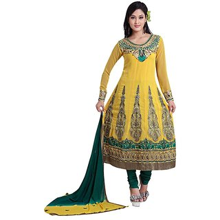 Fabdeal Party Wear Yellow  Georgette  Embroidery Salwar Kameez
