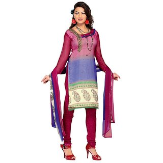 Fabdeal Casual Wear Magenta  Blue TopChiffon with embroidered neck line Printed Salwar Kameez