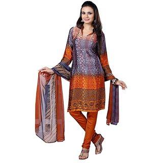 Fabdeal Casual Wear Orange  Crepe Jacquard Printed Salwar Kameez