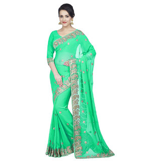SuratTex Green Chiffon Embroidered Saree With Blouse