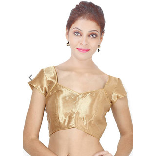 4f061ccdcf0 ... Buy Singaar Gold Readymade Blouse Cap Sleeves Silk Round Neck