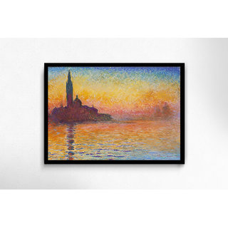 Sunset In Venice By Claude Monet Framed Poster
