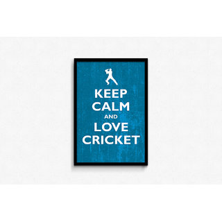 Keep Calm And Love Cricket Framed Poster