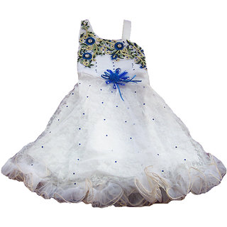 Sarrah Girls White & Blue Dress (Size: 22)