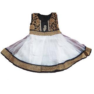 Sarrah Girls White & Black Frock (Size: 20)