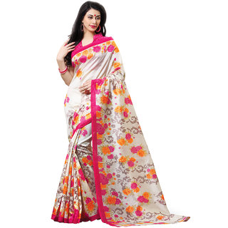 SuratTex White Silk Printed Saree With Blouse