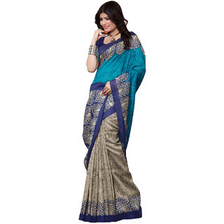 SuratTex Turquoise Silk Printed Saree With Blouse